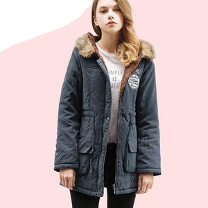 Winter Warmth Jackets Coats Women Parka Fashion Faux Fur Hooded Collar Casual Long Parkas Down Cotton Wadded Laidies Overcoat-rodewe