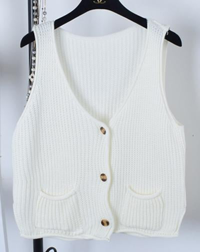 Women Cardigan vest 2018 Autumn Winter Fashion Knitted V-Neck Sleeveless Women Sweaters casual Pockets short Vest waistcoat-rodewe
