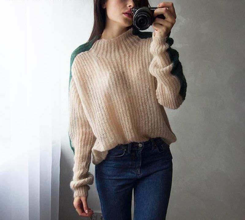 Chinstudio Women 2018 New Fashion Korean Knitted Pullovers Tall Neck Korean Sexy Regular Long Sleeve Mohair Wool Thin Sweater-rodewe