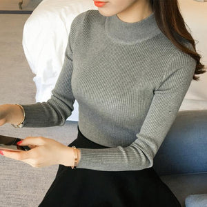 2018 Autumn Winter Women Knitwear Pullovers and Sweaters Half Turtleneck Long Sleeve Knitting Slim Blusas de inverno feminina-rodewe