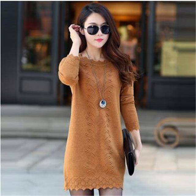 2018 New Hot Women's Spring Autumn Long Sleeve Knit Casual Sweater Female Plus Size Sweaters For Women pullovers Sweater A0117-rodewe