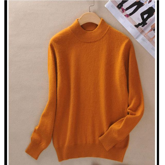 Fashion Cashmere Blended Knitted Sweater Women Tops Autumn Winter Turtleneck Pullovers Female Long Sleeve Solid Color-rodewe