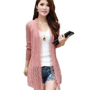 Spring and summer new women 's hollow in the long paragraph shawl jacket sweater thin knitted air - conditioning cardigan TB7510-rodewe