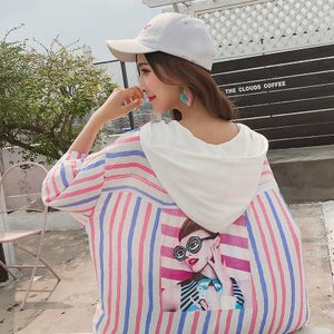 Preppy style colorful stripes long cardigan women 2018 summer thin hooded jacket female loose plus size sun protection top-rodewe