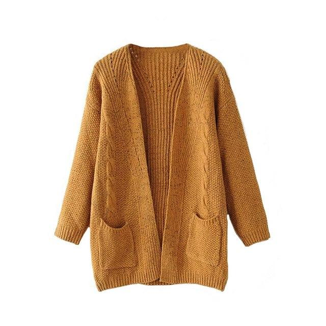 2017 warm winter sweater women cardigan Casual knitting long cardigan female Loose kimono cardigan knitted jumper-rodewe