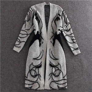 Hot Sale Arrivals European and American Pattern Loose Bat Sleeve Long Cardigan Sweater Thick Sweater Coat Female SW147-rodewe