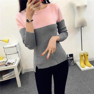 Autumn Winter Sweater Women 2018 Knit High Elastic Jumper Women Sweaters And Pullovers Female Black Pink Tops Pull Femme LY1113-rodewe