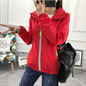 2018 spring autumn women coats loose wild hooded windbreaker female fashion big size S-7XL solid color hooded couples coats-rodewe