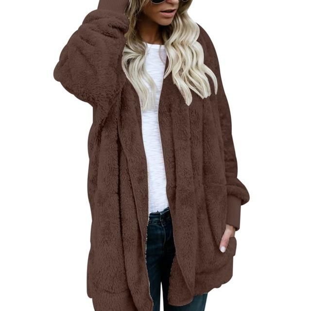 Spring Autumn Faux Fur Teddy Bear Coat Jacket Women Fashion Open Stitch Hooded Coat Female Long Sleeve Fuzzy Jacket S-3XL-rodewe