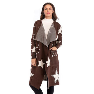 2018 Autumn And Winter Knit Jacket Star Pattern Sweater Female Long Loose Coat-rodewe