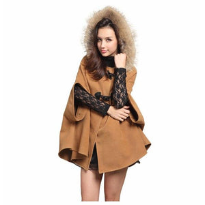 2017 Women's Winter Faux Fur Shawl Wool Hooded Poncho Batwing Half Sleeve Cape Coat Winter Jacket Cloak Poncho Drop-Shoulder-rodewe