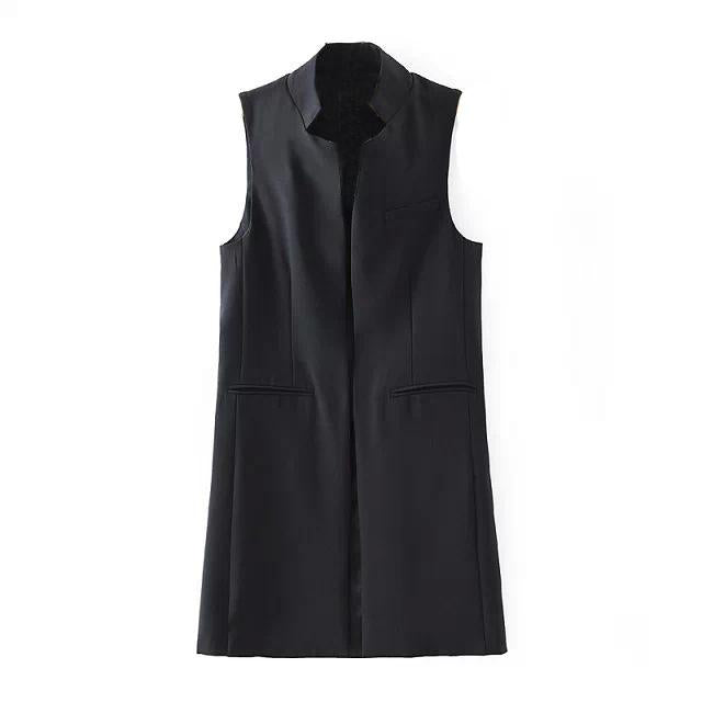 MALL Fashion Women's Spring Autumn Brief Stand Collar Vest Slim Long Waistcoat Sleeveless Cardigan Without Sleeves Jacket Vests-rodewe