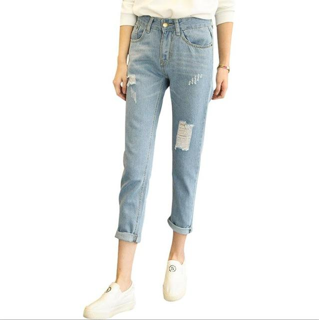 Dunayskiy Blue High Waist Denim Jeans Woman Casual Hole Ripped Jeans Pants Trousers Women Plus Size Vintage Clothes Jean Femme-rodewe