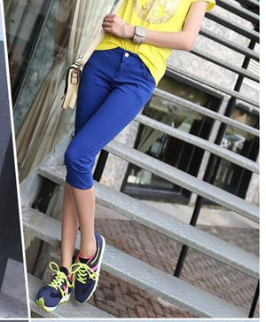 New Arrival Female Casual Elastic Wear pencil Pants with Slim Candy-Colour Capris Cotton Skinny Calf-Length Pants-rodewe
