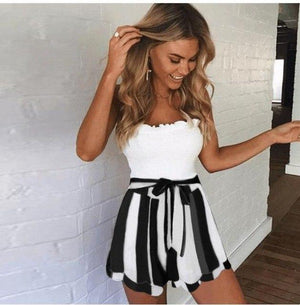Pink White Striped Shorts Women Fashion 2018 Summer High Waist Frills Shorts Streetwear Bow Tie Streetwear Shorts Bottoms-rodewe