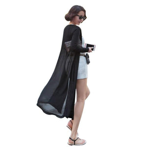 Korean Style Sunscreen Cardigan Shawl Long Sweater Coat Women Modal Chiffon Stitching Long Sleeve Sweaters Cardigan LM93-rodewe