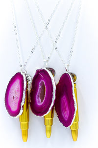 The Sliced Geode Druzy - Pink/Silver