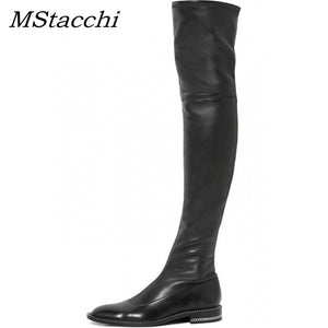 Over The Knee Leather Thigh Boots