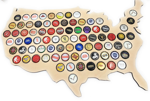 Wooden USA MAP  Beer Cap Holder