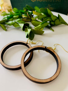 Small Wooden Loop Earrings
