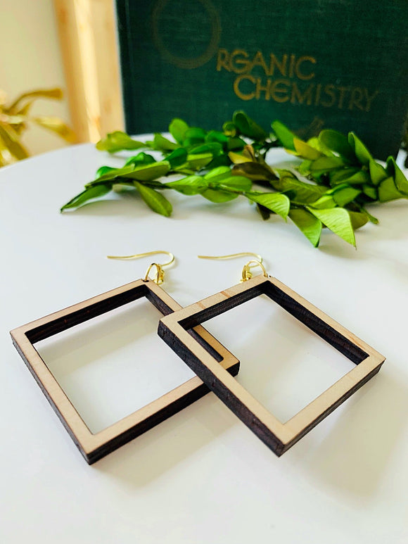 Wooden Square  Earrings