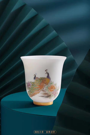 Chinese Vintage Peacock Gongfu Teacup Gorgeous Porcelain|Best Ceramics