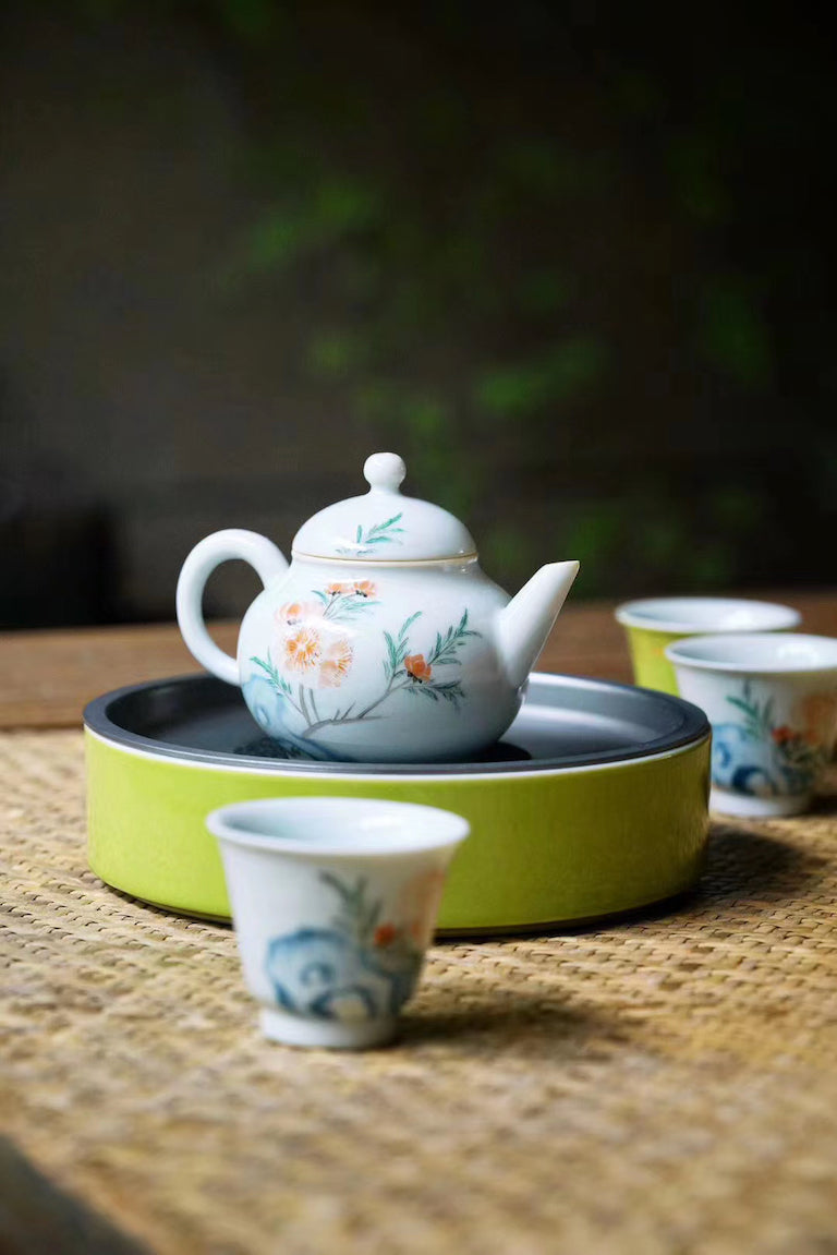 Vintage Chinese Teapot Set With Hand painted Springtime |Best Ceramics