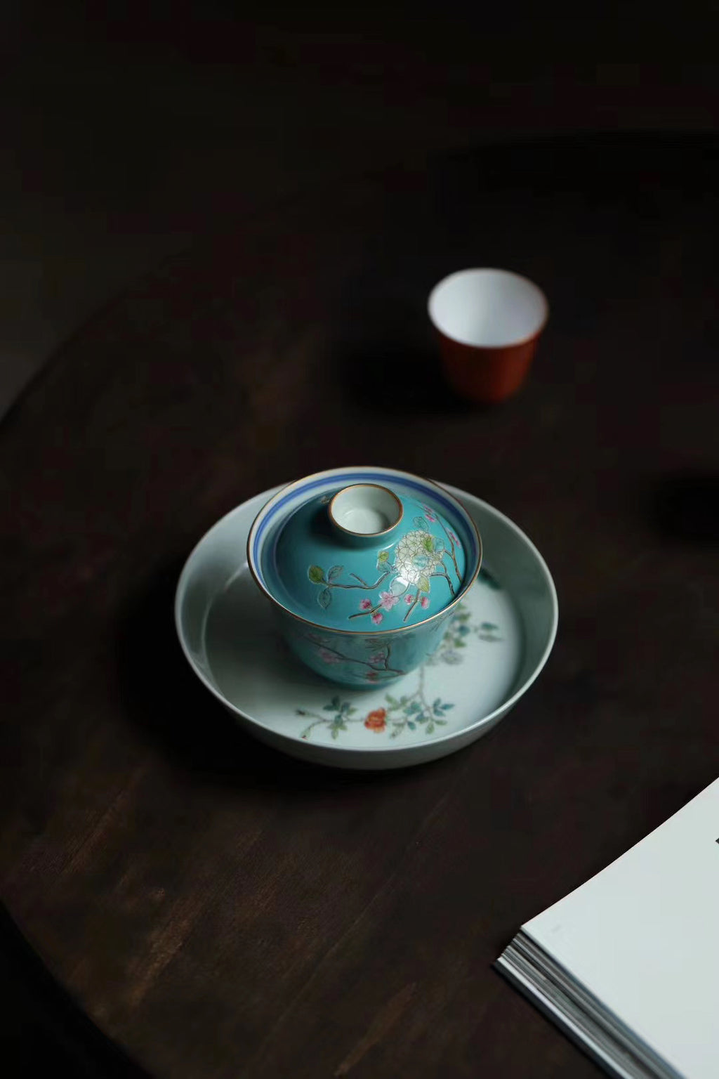 China Handpainted Vintage Gongfu Tea Green Glaze Gaiwan|Best Ceramics