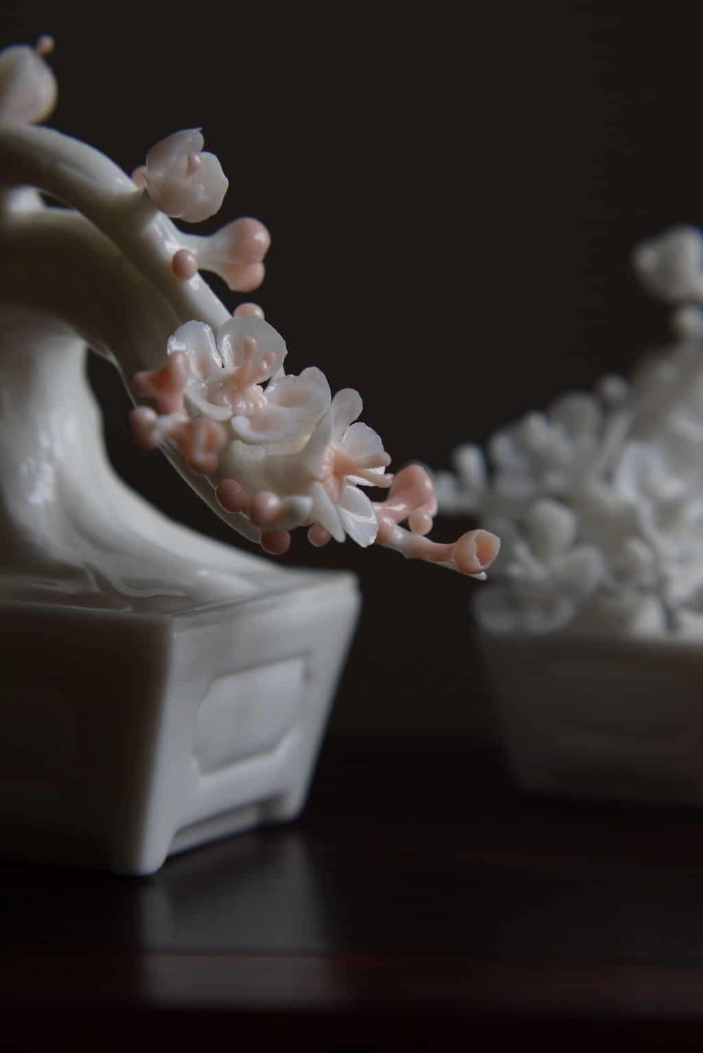 Chinese Plum Flower Sculpture For Tea Table Room | BestCeramics
