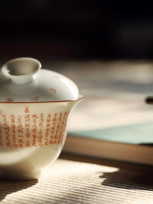 Hand Write Chinese Heart Sutra Poetry Gongfu Tea Gaiwan|Best Ceramics