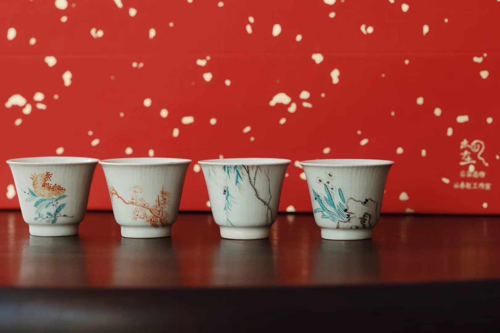 Hand-painting Chinese Red Qinghua Chaozhou Gongfu Teaset|Best Ceramics