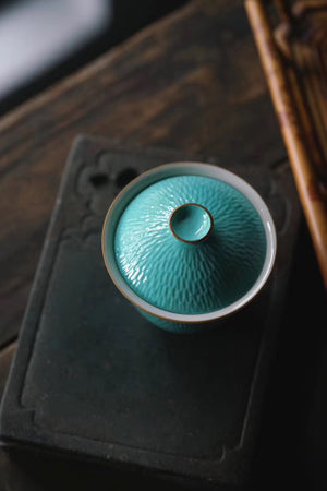 Hand Sculptural And Turquoise Chinese Tea Style Gaiwan|Best Ceramics