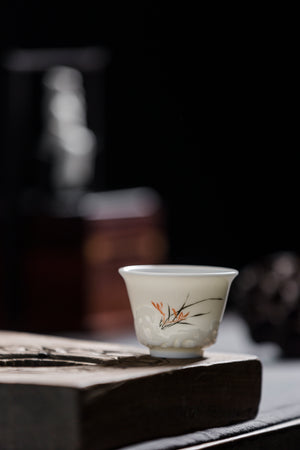 Teacups Set With Hand Painted Bamboo Chinese Antique | Best Ceramics