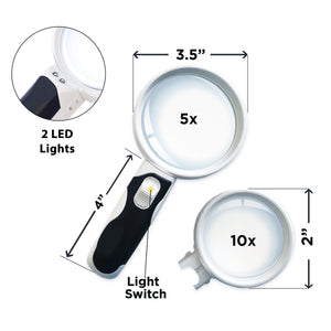 LED Magnifying Glass - 2 Lens Set (10X + 5X Illuminated)