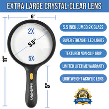 Load image into Gallery viewer, 5.5 Inch Premium Extra Large and Shatterproof 2X Lighted Magnifying glass