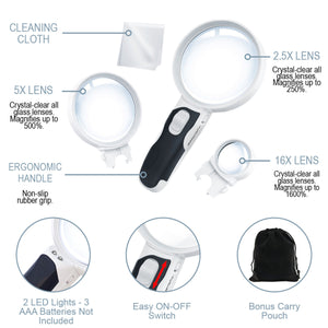 LED Magnifying Glass - 3 Lens Set (2.5X + 5X + 16X Illuminated)