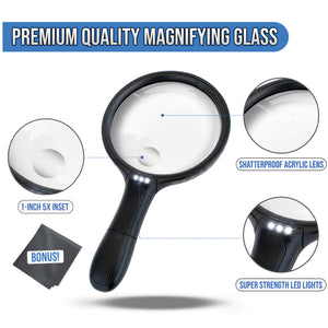 5.5 Inch Premium Extra Large and Lightweight Shatterproof 2X Lighted Magnifying glass with 5X Zoom