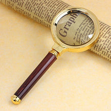 Load image into Gallery viewer, iMagniphy 10X Handheld Magnifier with Wooden Handle and Glass Lens