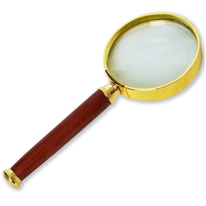 iMagniphy 10X Handheld Magnifier with Wooden Handle and Glass Lens