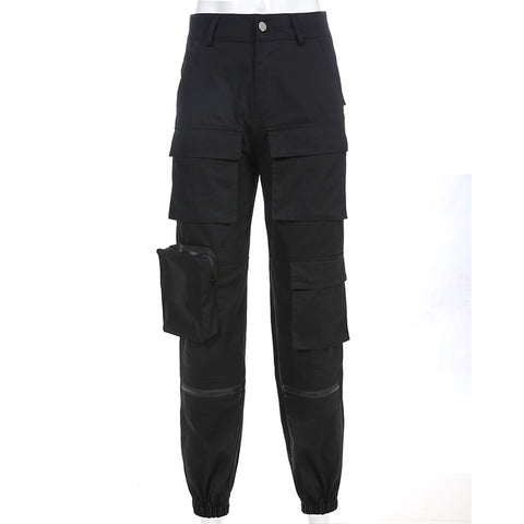 Women's Black Cargo Pants in Cotton