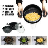 Cooking Pot with Built-In Strainer Water Filter Non-stick Pot Drain Basket Multifunctional Stainless Steel Cooking Pot Dropship