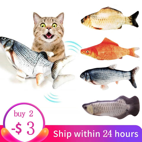 Electric Cat Toy+ Soft 3D Catnip Stuffed Wagging Fish+ Simulation Plush Fish Catnip Pillow+ Kitten Relieve Stress Teaser Toy