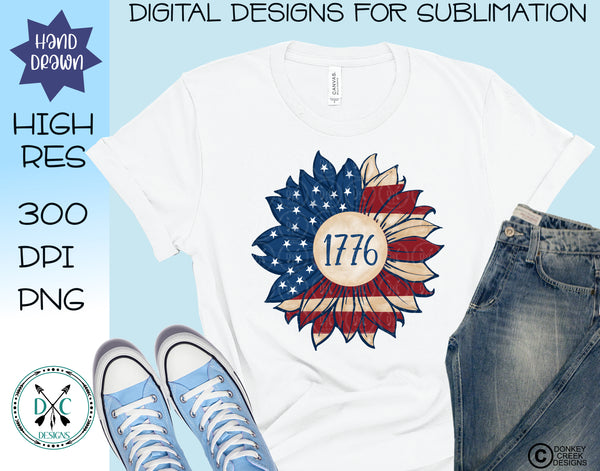 Patriotic Sunflower Sublimation PNG