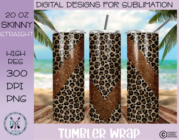 Brown Leopard & Glitter 20 oz Skinny Tumbler Wrap PNG