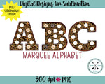 Leopard Marquee Sublimation PNG Alphabet