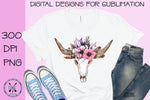 Boho longhorn sublimation design