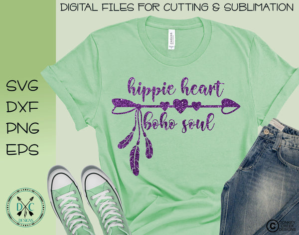 Hippie Heart, Boho Soul, SVG cutting file