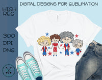 Hand Drawn  Patriotic Golden Girls  Sublimation Design