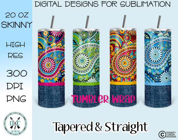 20 oz Skinny Tumbler Design Template- Paisley & Denim PNG Bundle