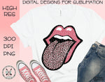 Pink Leopard Lips Tongue Sublimation PNG